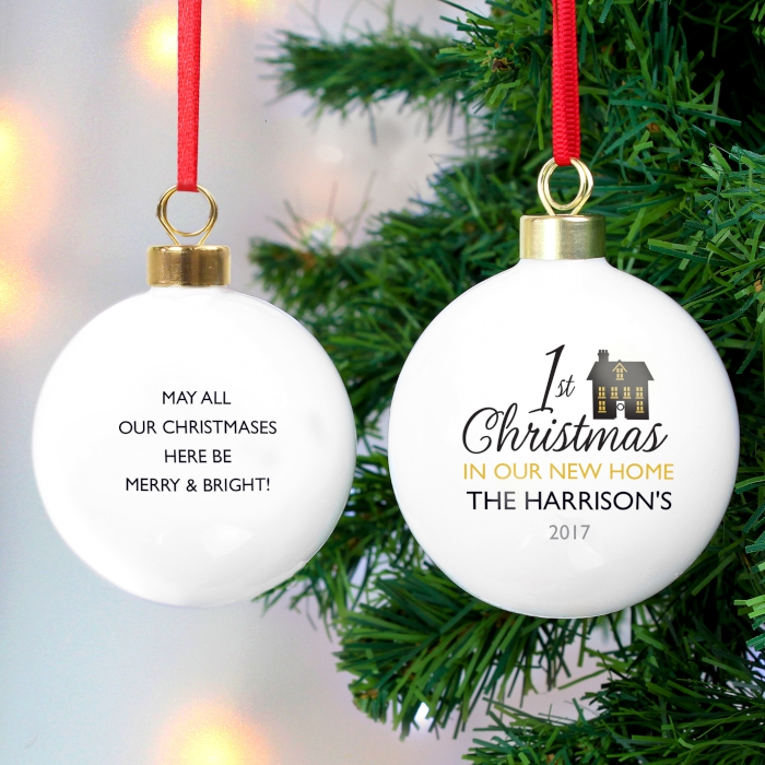 personalised our first Christmas as Mr /& Mrs mirrored bauble tree decoration